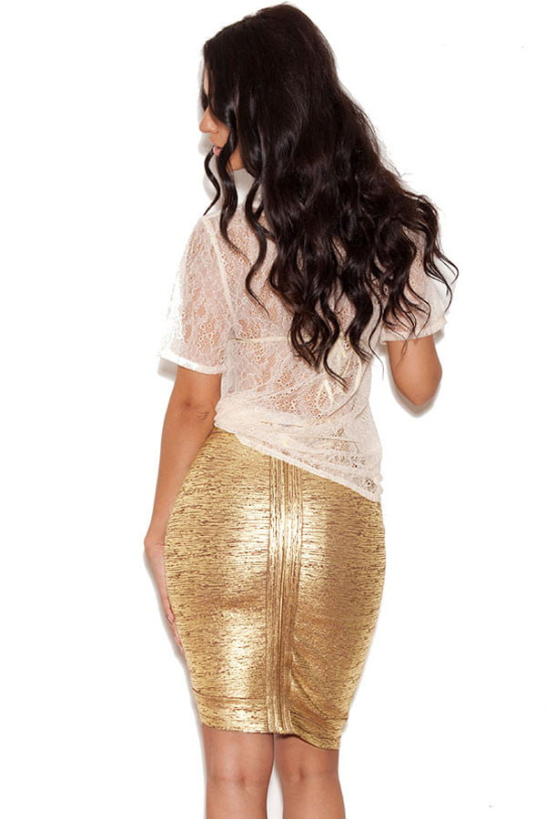 Rose-Gold-Foil-Bandage-Skirt-with-Zip-Detail-LC28327-26437